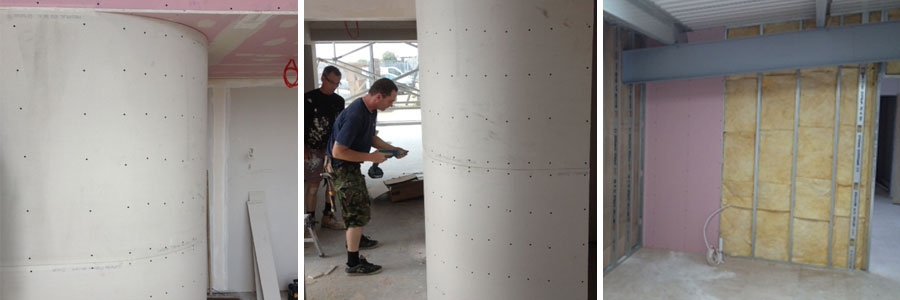 curved wall dry lining